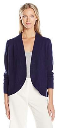 Sag Harbor Women's Long Sleeve Curved Hem Open Cardigan Cashmerlon Sweater