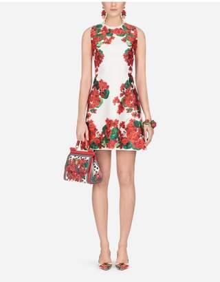 Dolce & Gabbana Short Portofino-Print Mikado Dress