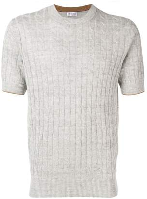 Brunello Cucinelli cable knit short sleeve sweater