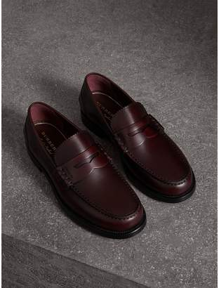 Burberry Leather Penny Loafers , Size: 43, Red