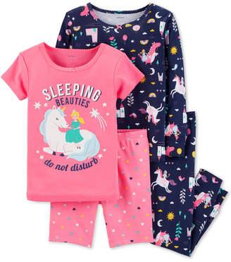 Carter's Baby Girls 4-Pc. Princess Print Cotton Pajama Set
