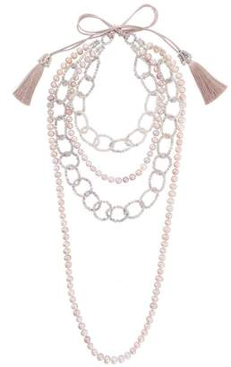 Night Market pearl and bead layered necklace