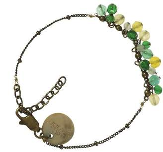Sous le sable Muscat Women's Chain Bracelet Brass - Unpolished Green Agate - 15 cm