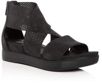 Eileen Fisher Women's Perforated Nubuck Leather Crisscross Platform Sandals
