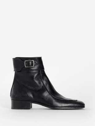 Saint Laurent BLACK SMOOTH LEATHER MILES BOOTS