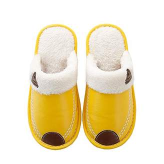 ZKHOECR House Shoes Fluffy Slippers for Women Junior Couple Casual House Memory Foam Outdoor Footwear Nonslip Faux Fur Plush Fluffy Ankle Leather Shose Light and Brown Size 7.5-8.5/6.5-7