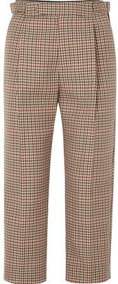 Monse Cropped Pleated Checked Wool-blend Tapered Pants - Tan