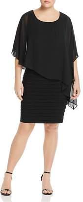 Adrianna Papell Plus Sheer Cape Overlay Dress