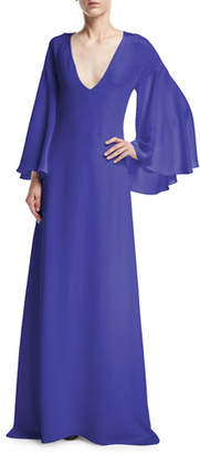 Derek Lam Bell-Sleeve Silk V-Neck Gown