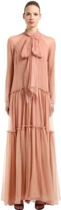 Alberta Ferretti FLARED HEM SILK CHIFFON LONG DRESS