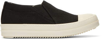 Rick Owens Black Canvas Boat Slip-On Sneakers
