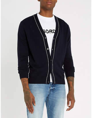 Sandro Piped wool-and-cashmere blend cardigan