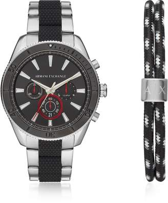 Emporio Armani Enzo Silver Toned and Black Men's Chronograph Watch Set