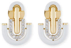 David Webb White Enamel & Diamond Unity Earrings