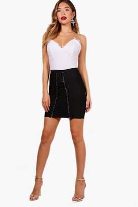 boohoo Maisy Premium Heavy Bandage Lace Up Mini Skirt