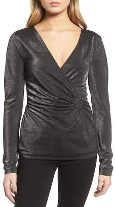 Trouve Metallic Faux Wrap Top