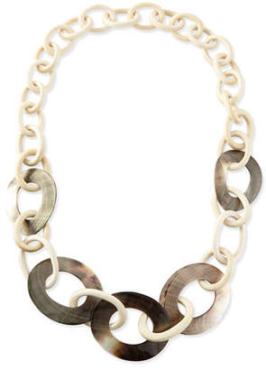 Viktoria Hayman Wood & Mother-of-Pearl Link Necklace
