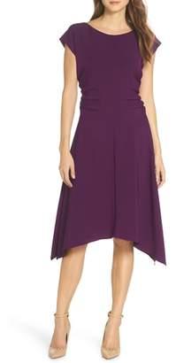 Julia Jordan Ruched Stretch Crepe Fit & Flare Dress