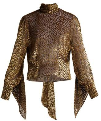 Petar Petrov Esra Metallic Fil Coupe Chiffon Blouse - Womens - Black Gold