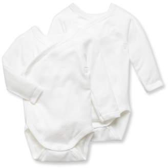 Petit Bateau DOUBLE PACK UNISEX NEWBORN BABY PLAIN LONG-SLEEVE BODYSUITS