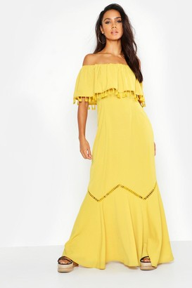 boohoo Off The Shoulder Tassel Maxi Dress