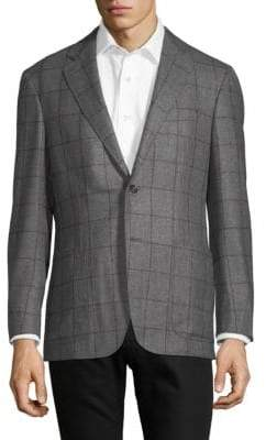 Canali Windowpane-Print Slim-Fit Sportcoat