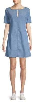 AG Adriano Goldschmied Front Keyhole Denim Shift Dress