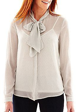 Liz Claiborne Long-Sleeve Tie-Neck Blouse with Cami
