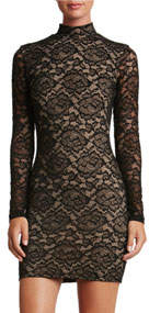 Penelope Mock-Neck Lace Mini Cocktail Dress