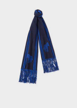 Paul Smith Men's Navy And Blue 'Zebra' Double-Face Scarf