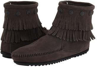 Minnetonka Double Fringe Side Zip Boot Women's Zip Boots