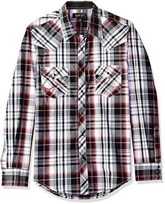 Ely & Walker Men's Long Sleeve Textured Plaid Shirt with Contrast Stitch
