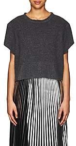 MM6 MAISON MARGIELA Women's Sweatshirt-Style Felted Wool-Blend T-Shirt-Gray