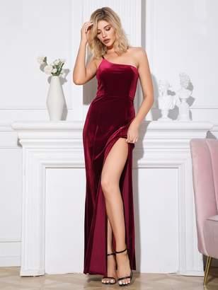 Shein Double Crazy One Shoulder Split Thigh Velvet Maxi Dress