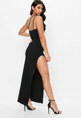 Missguided Black Multi Strap Plunge Maxi Dress