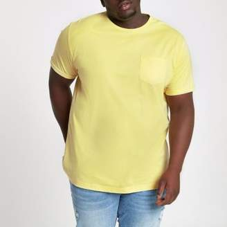 River Island Big and Tall yellow crew pocket T-shirt