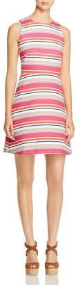 MICHAEL Michael Kors Womens Crew Neck Striped Wear to Work Dress Pink L