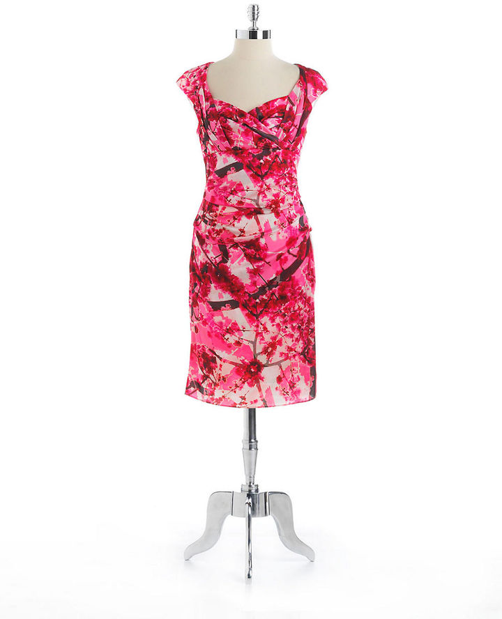 Suzi Chin FOR MAGGY BOUTIQUE Floral Print Cocktail Dress