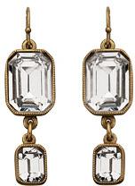 Ben Amun Clear Double Square Drop Earrings