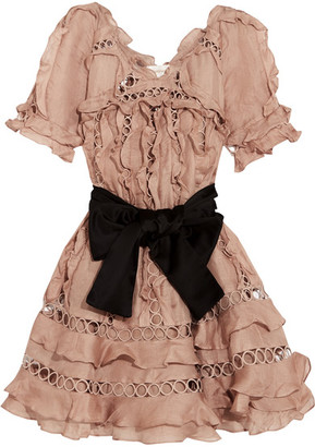 Zimmermann - Winsome Guipure Lace-paneled Ruffled Silk And Linen-blend Mini Dress - Antique rose $1,750 thestylecure.com
