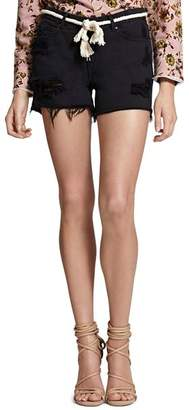 Sanctuary Belted Distressed Denim Shorts in Faded Black