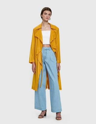 Aalto Trench Coat with Sweatshirt Hood in Yellow