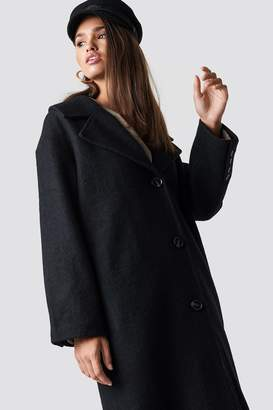 Hannalicious X Na Kd Oversized Wool Blend Coat Black