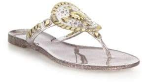 Jack Rogers Women's Sparkle Georgica Jelly Sandals - Clear Gold - Size 6