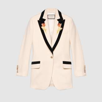 Gucci Flower embroidered wool jacket