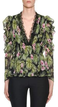 201b952f Giambattista Valli Ruffled Bracelet-Sleeve Plant-Print Silk Blouse