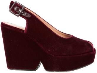 Robert Clergerie Burgundy Velvet Sandals