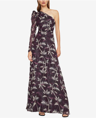 BCBGMAXAZRIA Printed One-Shoulder Gown