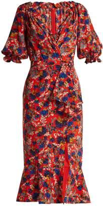 Saloni Olivia floral-print silk dress