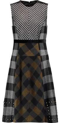 Etro Studded Paneled Checked Wool-Blend Felt Dress